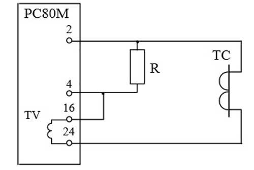 Схема подключения реле РС80М