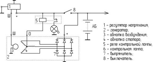 Рис.1. Схема подключения регулятора напряжения 201.3702